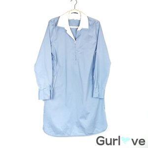 Elie Tahari Shirtdress Long Sleeve Blue Dress 14